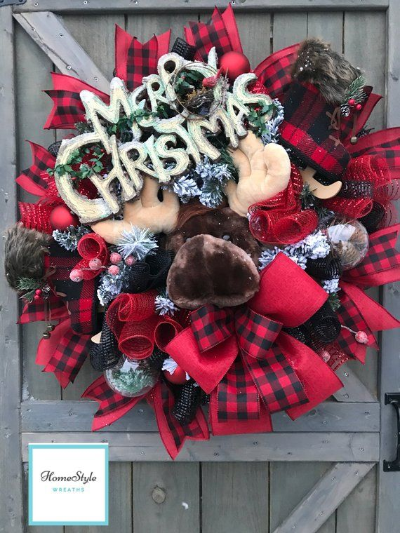 Moose Wreath, Christmas Wreath, Whimsical Wreath, Whimsical