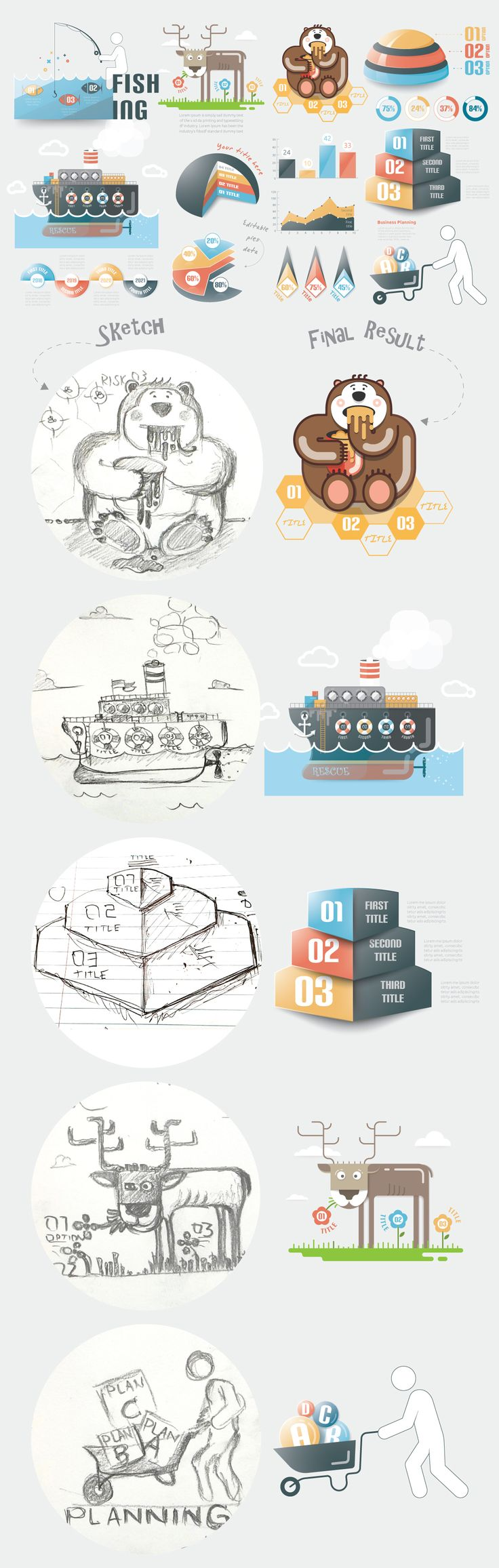 From sketch to result (Infographic Elements v19) on Behance