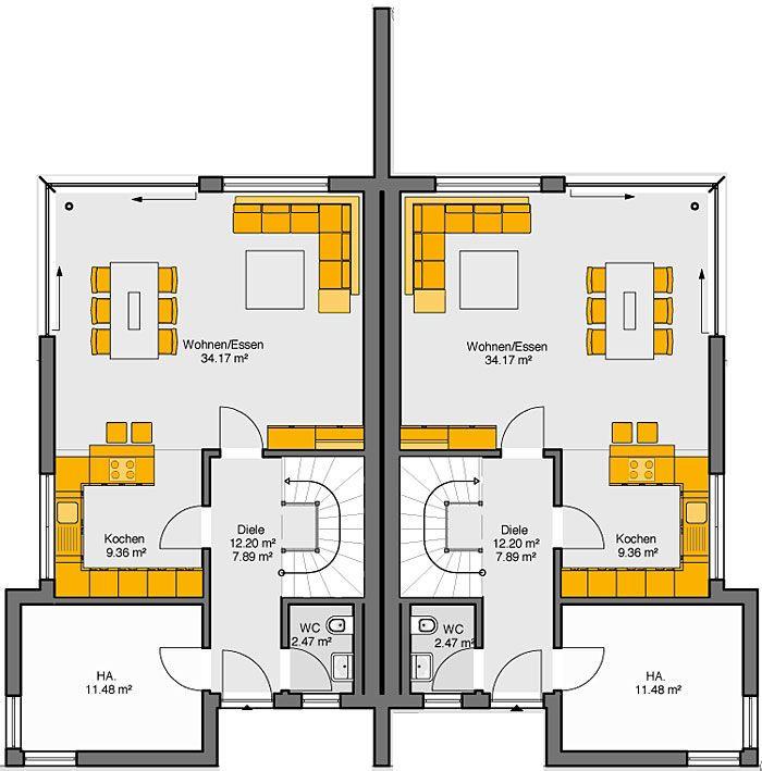 Fertighaus Doppelhaus Gemello FD 280 Grundriss EG
