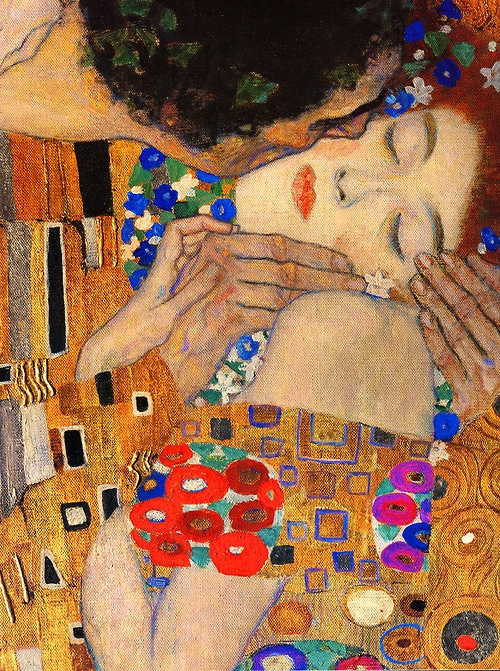 The Kiss by Gustav Klimt (detail), oil and gold leaf on canvas, 1907–1908