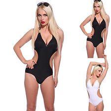 Donna Costume da Bagno Costumi interi Monokini Bikini a Fascia Nero / Bianco