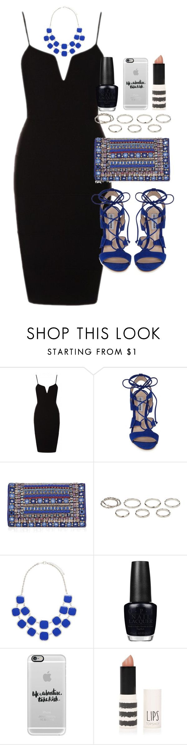 """Outfit for prom"" by ferned ❤ liked on Polyvore featuring Steve Madden, Matthew Williamson, Akira, Forever New, OPI, Casetify and Topshop"