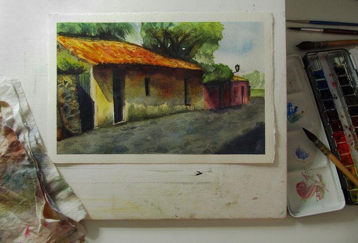 La Calle de los Suspiros - Colonia del Sacramento. Uruguay Aquerela. Watercolor