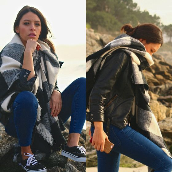Get this look: http://lb.nu/look/7949858  More looks by Natalia M: http://lb.nu/pasoapasoblog  Items in this look:  Pimkie Maxi Scarf, Adolfo Domínguez Leather Jacket, Zara Jeans, Vans Black Sneakers   #casual #sporty #street #staywarmlb #leatherjacket #maxiscarf