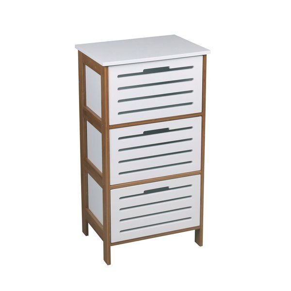 A 3 drawer bathroom / bedroom unit of natural-finished bamboo frame and a white MDF body. This item comes with assembly hardware and is made with construction for long-lasting use. Whether for use in the bathroom or the bedroom, it provides storage space and preventing clutter in the room.
