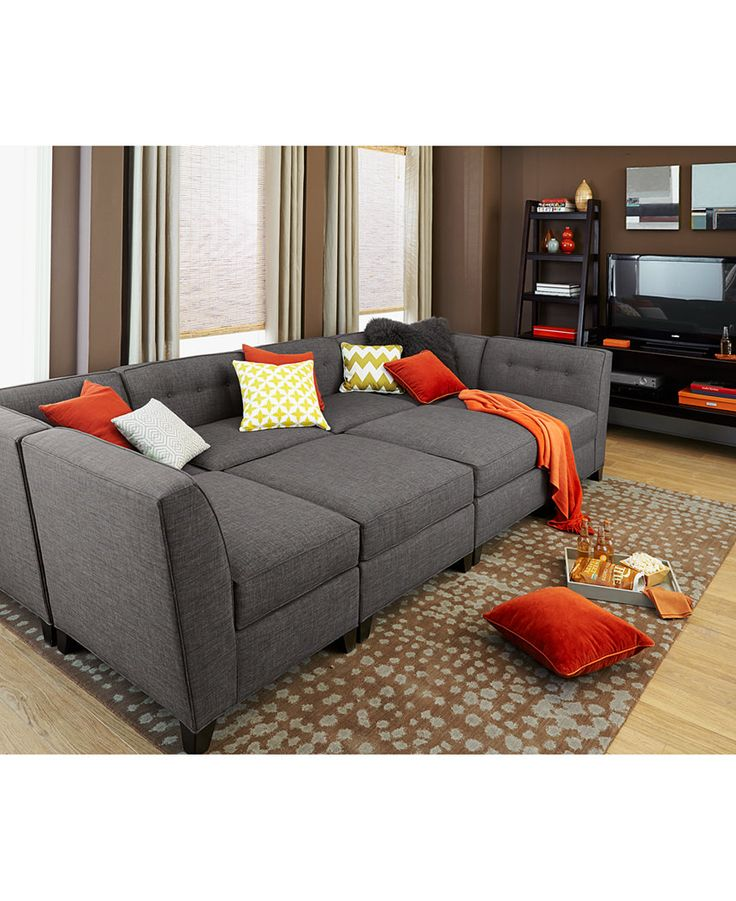 Harper Fabric 6 Piece Modular Chaise Sectional Sofa: Custom Colors - Sectional Sofas - Furniture - Macy's