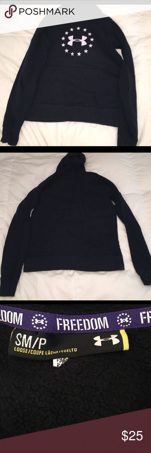 Under armour hoodie Under armour hoodie, stars in a circle around logo, lightly worn, great condition Under Armour Tops Sweatshirts & Hoodies