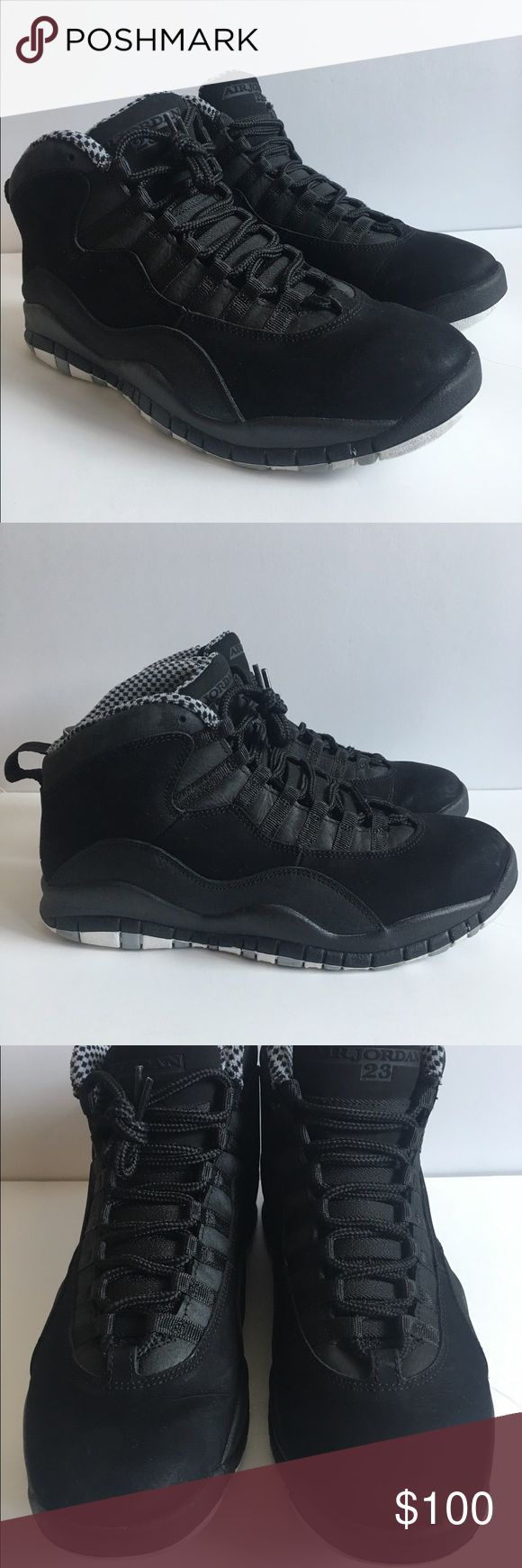 Nike Air Jordan 10 men's size 8.5 Nike Air Jordan 10 men's size 8.5. Scuff's illustrated in pictures. Still in great condition. Jordan Shoes Athletic Shoes