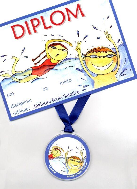 medaile a diplom za plavání