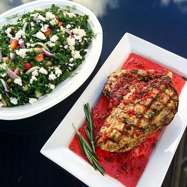 Turkey dinner for two! This turkey breast was grilled then finished with a raspberry, honey, lemon juice, pepper flakes and rosemary sauce. Served with a kale chopped salad that included Rainier cherries, feta, chickpeas & dill tossed in a feta dressing. (Not shown, summer red wine over ice) @zimmysnook