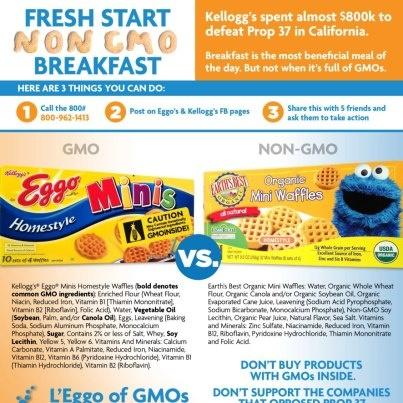 Tell Kellogg's to L'Eggo Off the GMOs! Try Earth's Best Organic Mini Waffles over Kellogg's Eggo Mini Waffles for a Fresh Start Non GMO Breakfast! gmoinside.org/...