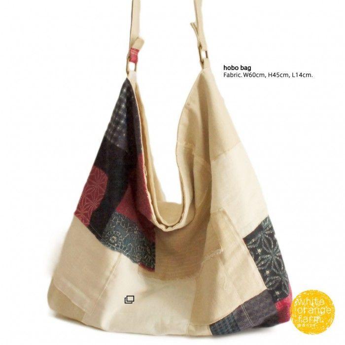 Japanese Vintage w/Linen /L #whiteorangefarm #mosseash #handmade #handmadebag #cotton #canvas #linen