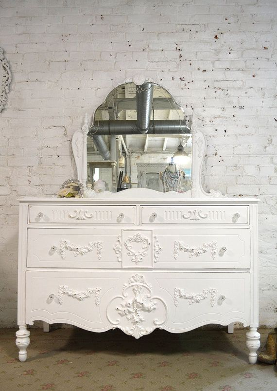 Painted Cottage Chic Shabby French Dresser With Tiara Mirror