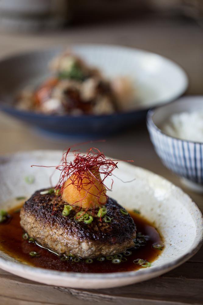 Tofu hamburger with grated daikon and ponzu