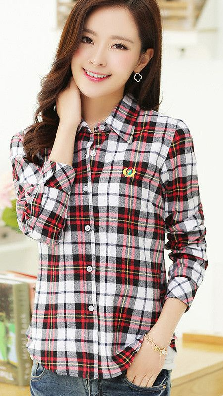 Plaid Turn-down Collar Flower Print Long Sleeves Slim Button Blouse