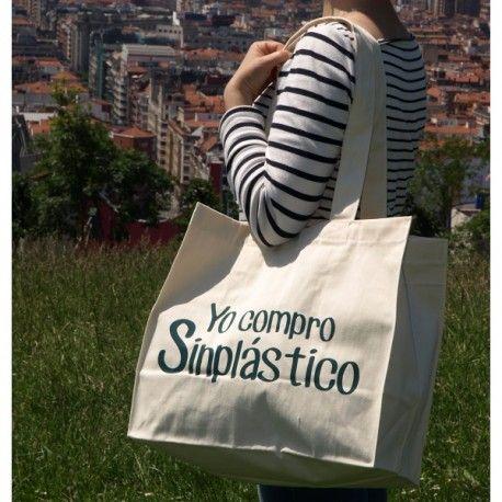 """Bolsa para la compra """"Yo compro Sinplástico"""" de gran resistencia y con asas largas. La alternativa ecológica a las bolsas de plástico."""