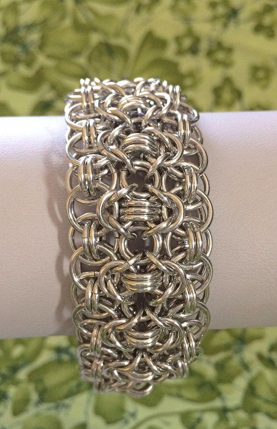 Shiny Silver Rondo a la Byzantine Bracelet Cuff  by DaisiesChain, $40.00