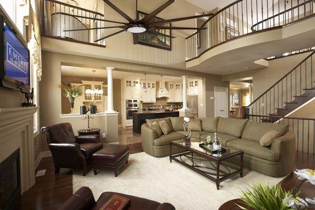 Large Ceiling Fans Make More Sense In Big Open Great Rooms Model Home Decorating Home Living Room Living Room Floor Plans