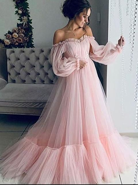 Pink Long Sleeve Prom Dress Cheap Long African Prom Dress # VB4846