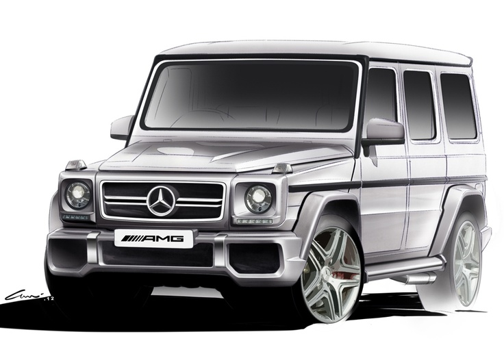 The G 63 AMG is one of the most powerful SUVs ever made. What you see is its final design direction. These sketches kept a good balance between the old character and the new elements of the G model.