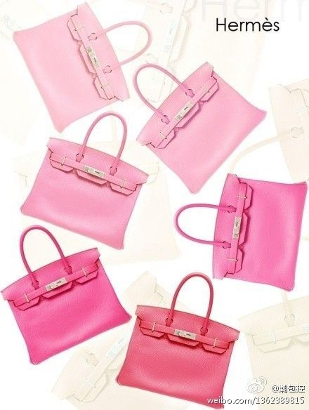 Hermes in different pink fab...