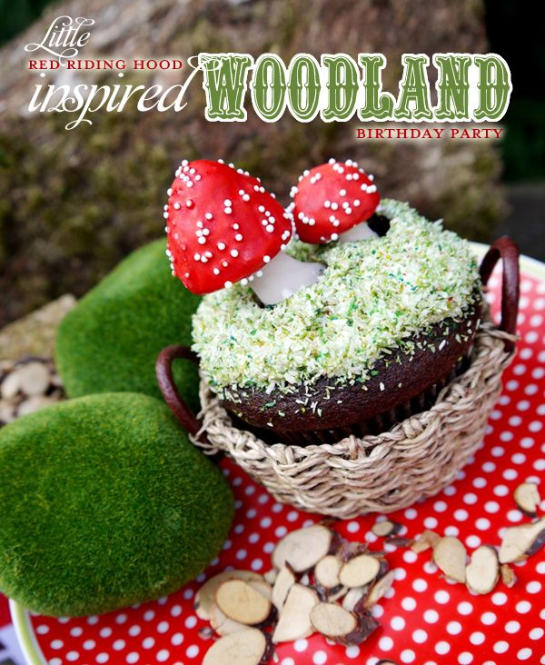 """this party has good ideas too.  love the """"edible moss"""" topping of cake, moss balls, & mushroom toppers for cake."""