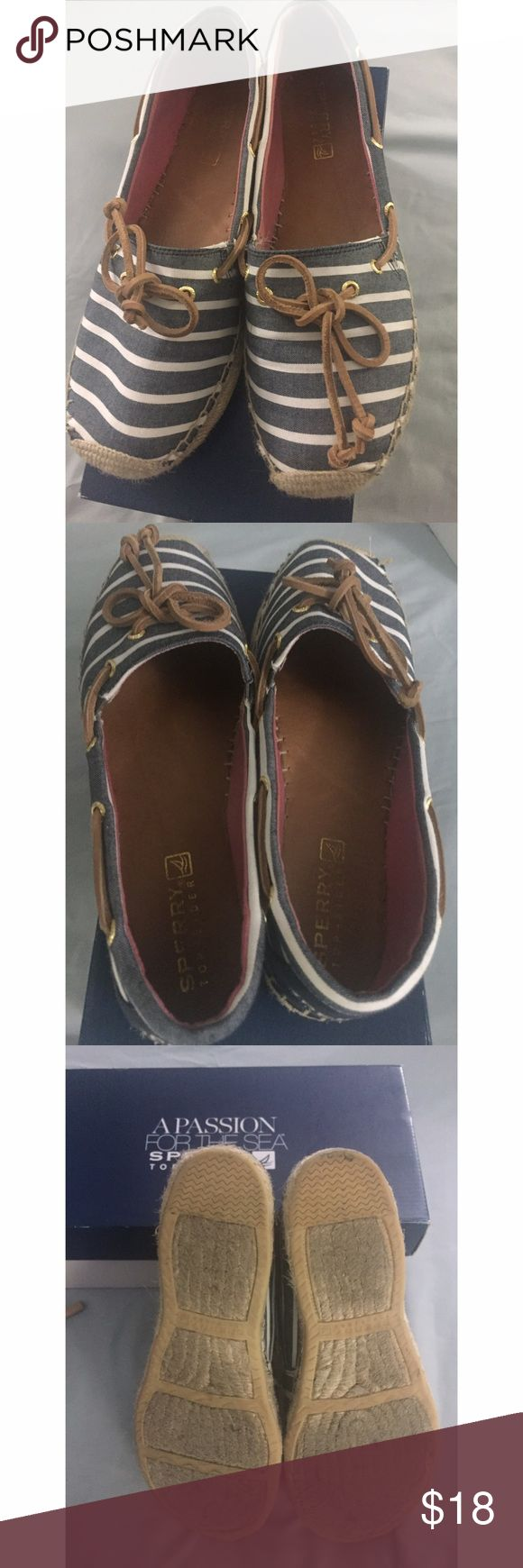 Sperry Espadrilles blue and white flats Size 10 Sperry Top-Sider espadrilles blue and white fabric. Great condition. Sperry Shoes Espadrilles