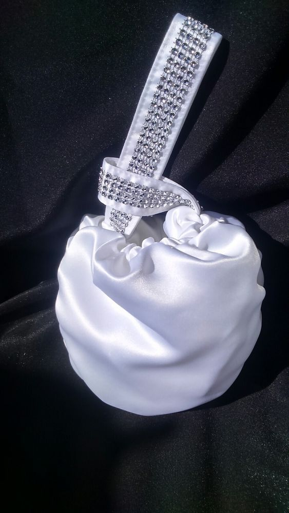 Bride flower girl bridesmaid wedding holy communion Diamonte wrist bag White