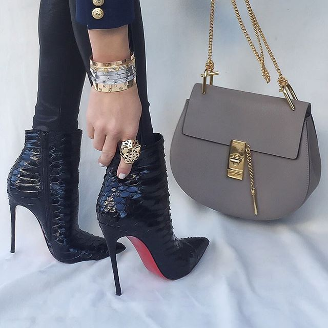 Up Close and Stylish @upcloseandstylish Instagram photos   Websta Up Close from the other night - #ChloeDrew bag and #LouboutinSoKate120mm boots. Ring and bracelets by #Cartier. (26 October 2015)
