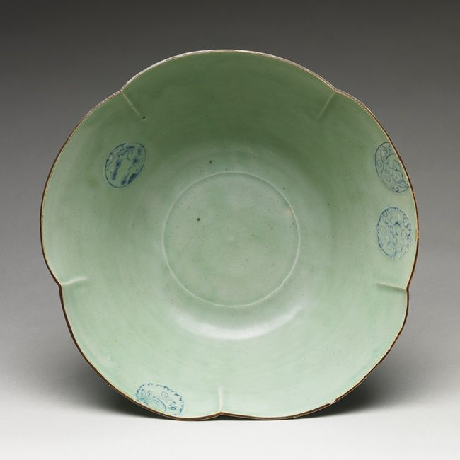 Large bowl with floral design, Edo period (1615–1868)  Japan  Porcelain with celadon glaze and underglaze blue (Hizen ware, early Imari type)
