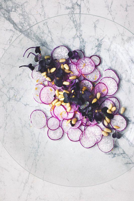 carpaccio: shaved purple radishes with radish sprouts, pine nuts, lemon zest. {princess tofu}