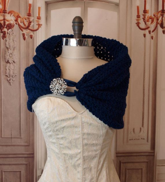 Navy Blue Wedding Shrug  Shawl Stole With by LucilleandIrma