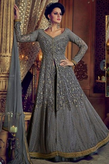 25ced3c6b4 #Eid #Dresses - Grey Color Heavy embroidered Long Anarkali Suit - Thread  Sutra. We can make this dress on order