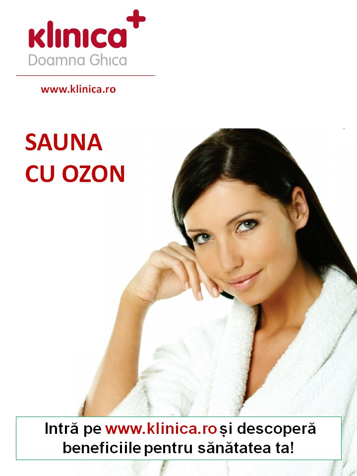 BENEFICIILE SAUNEI CU OZON: Sănătate și frumusețe  Recuperare după naștere  Piele fină, catifelată  Slăbire  Tonifierea musculaturii  Relaxare fizică și psihică  Pentru mai multe detalii despre afectiuni medicale pentru care se recomanda sauna cu ozon, vizitati: http://klinica.ro/ozonoterapie-i/