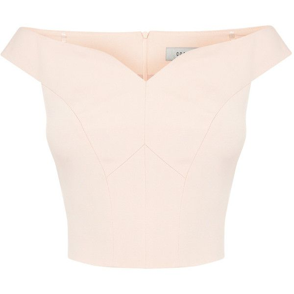 ZAHARA STRUCTURED TOP (5,415 DOP) ❤ liked on Polyvore featuring tops, shirts, crop tops, blusas, pink shirt, structured top, sweetheart neckline tops, zip back shirt and pink crop top