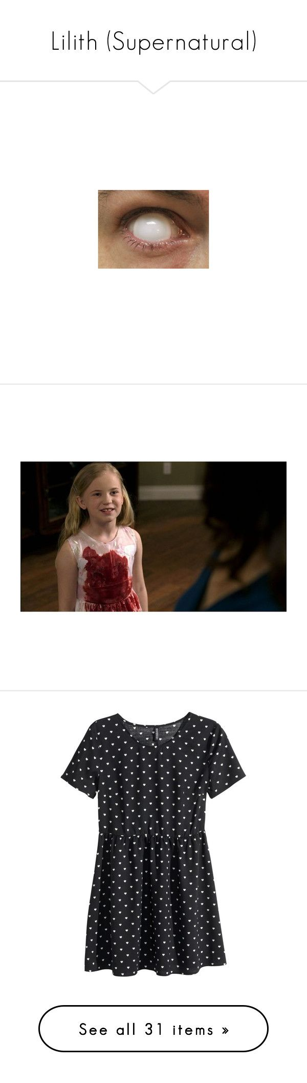 """""""Lilith (Supernatural)"""" by kitten89 ❤ liked on Polyvore featuring eyes, dresses, vestidos, tops, h&m, black, pattern dress, short-sleeve maxi dresses, short sleeve mini dress and print dress"""