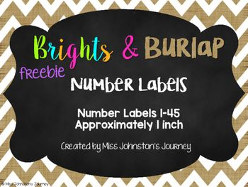 Labels are about 1 inch. Perfect for labeling anything and everything!Burlap, bright colors and chalkboard elements were used to design these. I used my own Brights on Burlap Digital Papers for this product.I hope you enjoy this freebie.Here are a couple other number label options:Colorful Number Labels 1 inchColorful Number Labels