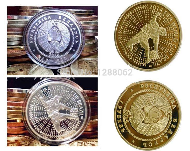 Шт/много 2014 Бразилия футбол Кубок Мира футбол real gold посеребренные сувенирные монеты подарок