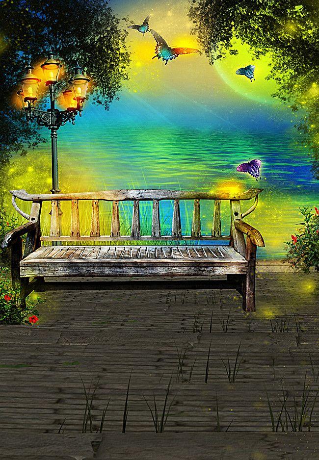 Park Bench Bench Seat Landscape Background Background For Photography Photography Backdrops Landscape Background