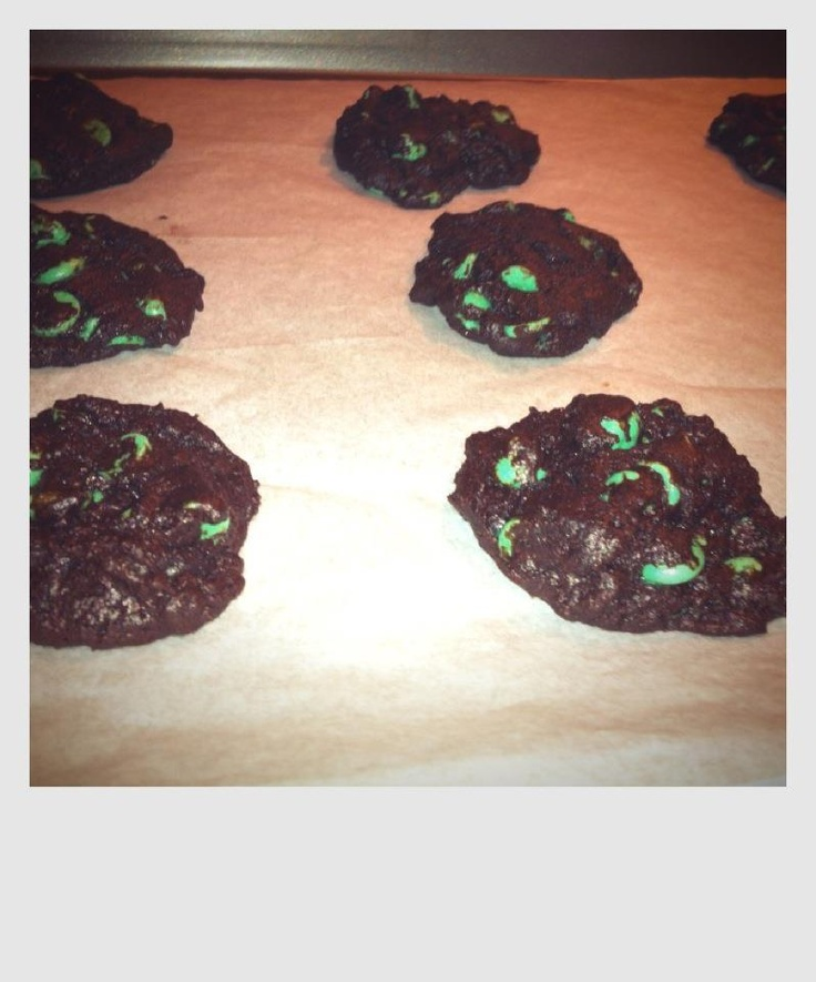 chocolate cookies with mint chocolate chips.