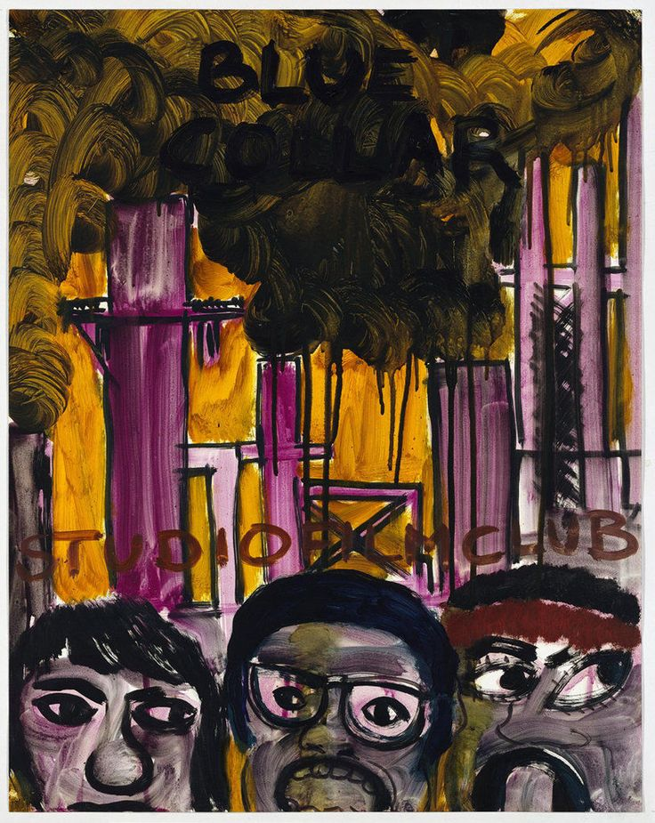 """""""BLUE COLLAR (BY PAUL SCHRADER 1978)""""  2007 [""""Blue Collar"""" USA 1978, 114', R / D: Paul Schrader] Contemporary Fine Arts and the artist oil on paper 73 x 58 cm / 29 x 23"""" PETER DOIG."""