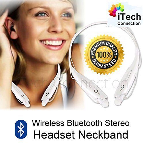 iTechConnection Wireless Bluetooth Sport Stereo Headset Earbuds for iPhone 6 Plus 5S 5C 5 4S 4 / HTC M8 / Samsung Note 4 Note 3 S5 S4 / LG G3 G2 or any devices with Bluetooth Function (WHITE). Simple hands free calling and music streaming from your phone.?. Discreetly inform you when you receive a call.?. Around the neck design. It is very easy to carry. The Headsets will depend on the magnetic force to stick to the both ends?. Long working time, only needs about 3 hours make it full…