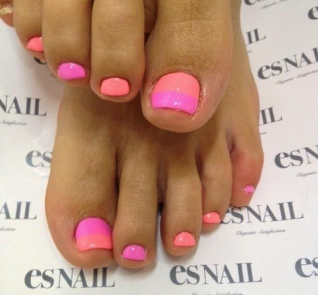 hot pink orange pedicure