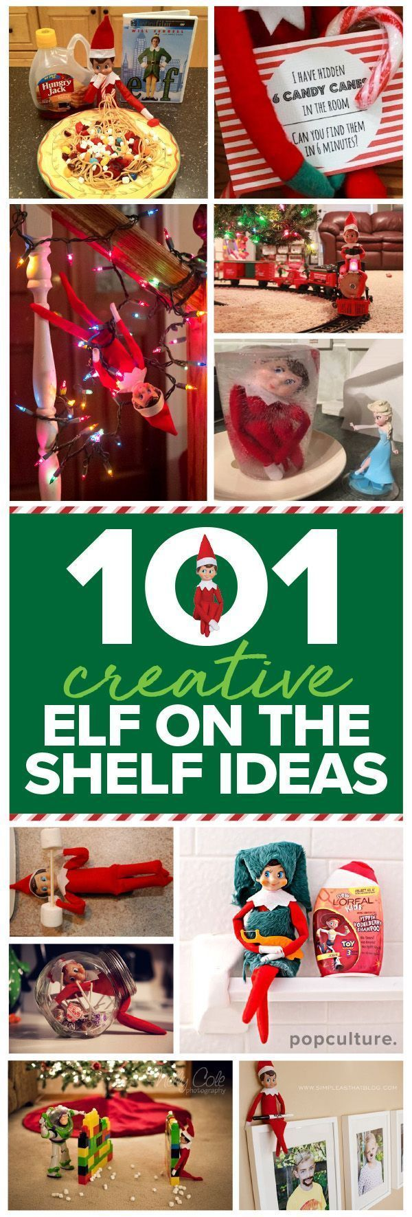 101 easy Elf on the Shelf ideas. If you're looking for some elvish inspiration, then look no further. We've scoured the internet and collected the very best Elf on the Shelf ideas. Popculture.com #elfontheshelfideas #elfontheshelf #elfontheshelffunny #elf