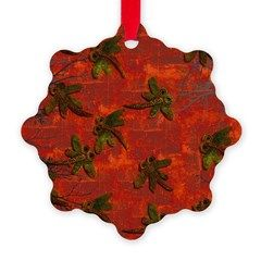 Dragonflies on a red hot background...perfect for your Christmas tree!  #Christmas #Xmas #dragonflies #ornament #decoration