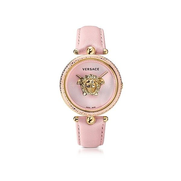Versace Women's Watches Palazzo Empire Pink and PVD Plated Gold... (1,838 CAD) ❤ liked on Polyvore featuring jewelry, watches, gold, women's watches, versace watches, gold wrist watch, gold watches, quartz movement watches and dial watches