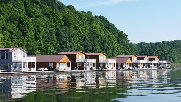 Built on houseboat hulls, these floating cabins at the Green River Marina are a lake-lover's dream come true. You can't get much closer to the water than this.