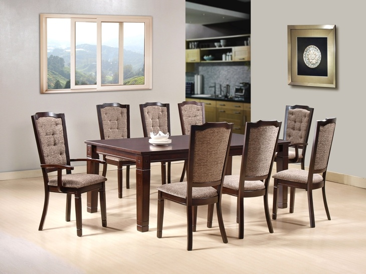 CAZORLA DINING SET - The Cazorla table is designed with wide legs to give it a strong masculine appearance with tufted back upholstered chairs; 8 Seater; PRICE: 107600/-; Buy now: http://tfrhome.com/landing/productlandingpage.php?product_code=ds-05
