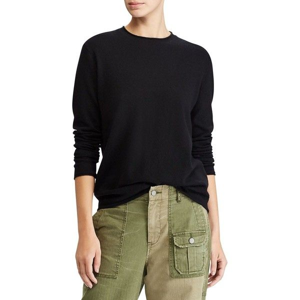 Polo Ralph Lauren Cashmere Long Sleeve Sweater (3 085 ZAR) ❤ liked on Polyvore featuring tops, sweaters, crew neck pullover, long sleeve pullover, cashmere crew neck sweater, polo ralph lauren sweater and long sleeve crew neck sweater