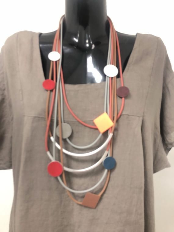 Lagenlook  Rubber necklace, long multi thread, with abstract shapes